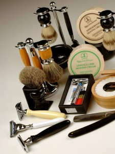 Shaving razors, soaps, creams and accessories
