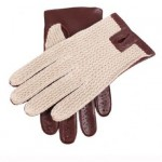 Dents brown leather crochet back gloves