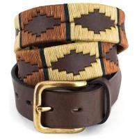 Pioneros Copper/Beige Green Stripe Polo Belt