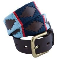 Pioneros Light Blue/Navy Red Stripe Polo Belt
