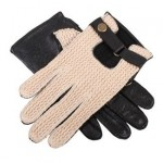 Dents black leather crochet back mens gloves