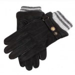 Dents mens black leather lined gloves